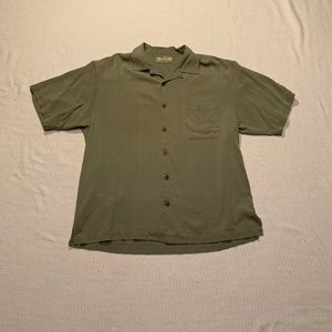 Tommy Bahama Men's Large Green Silk Shirt